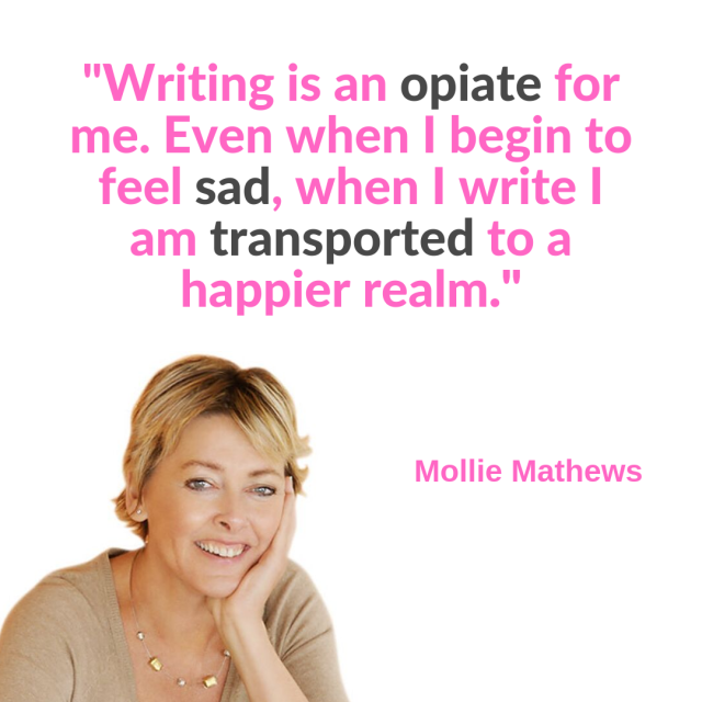 Mollie Writing is an opiate for me. Even when I begin to feel sad, when I write I am transported to a happier realm